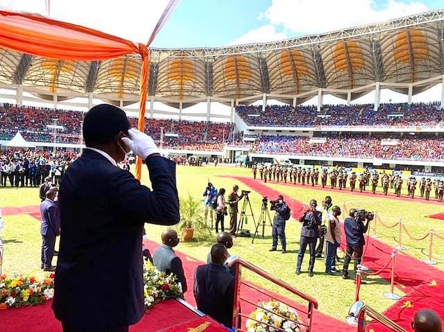 President Hichilema takes the salute