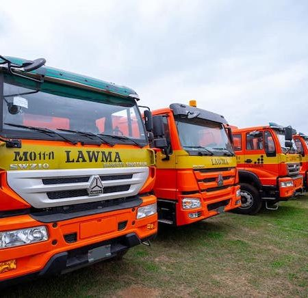 The new LAWMA trucks for commissioning today by Sanwo-Olu