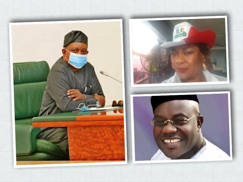 Uche Secondus, PDP chairman, Above, Hadiza Umoru and Diran Odeyemi who resigned
