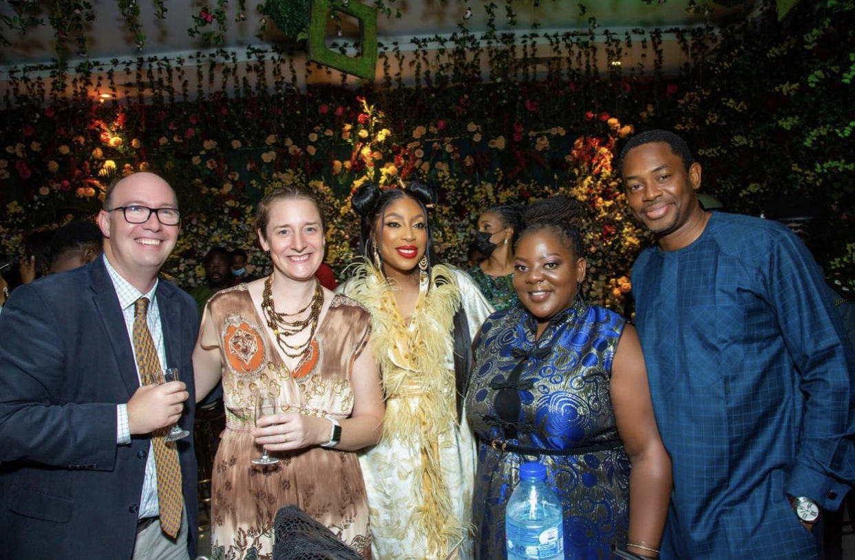 The British Deputy High Commissioner, Ben Llewellyn-Jones and Mrs Ben Llewellyn, Mo Abudu and other guests at the dinner