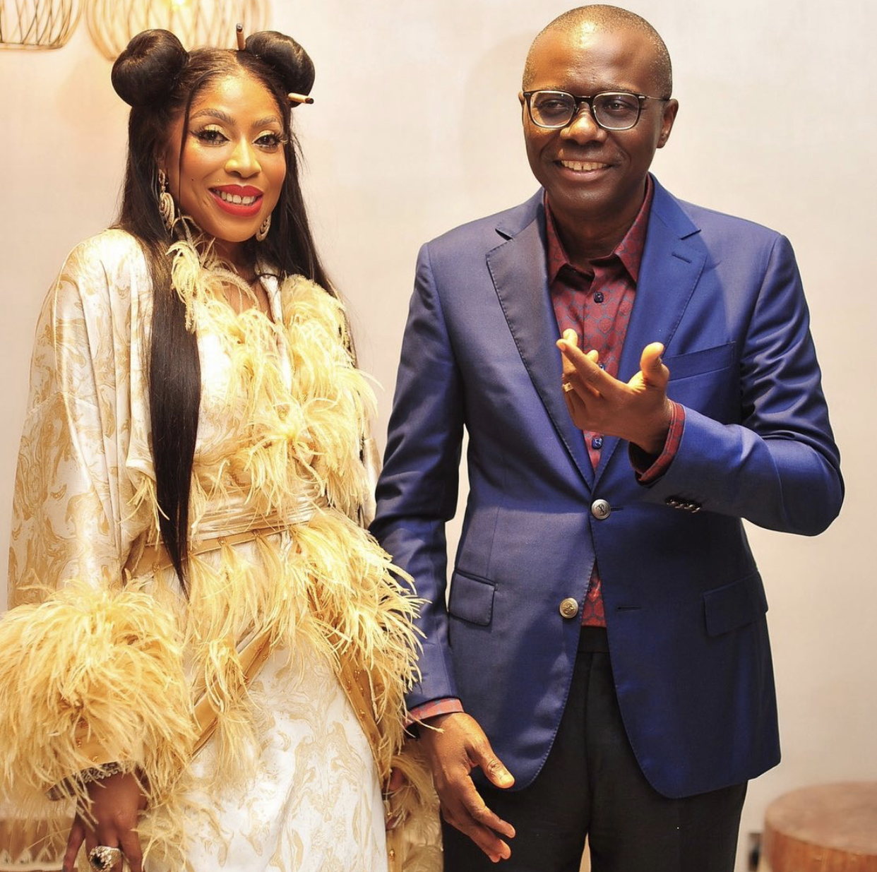 CEO of EbonyLife, Mo Abudu and Governor Babajide Sanwo-Olu of Lagos State