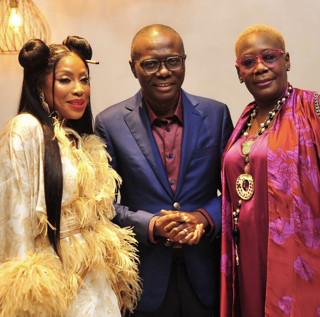CEO of EbonyLife, Mo Abudu with Governor of Lagos State, Mr Babajide Sanwo-Olu, and a guest