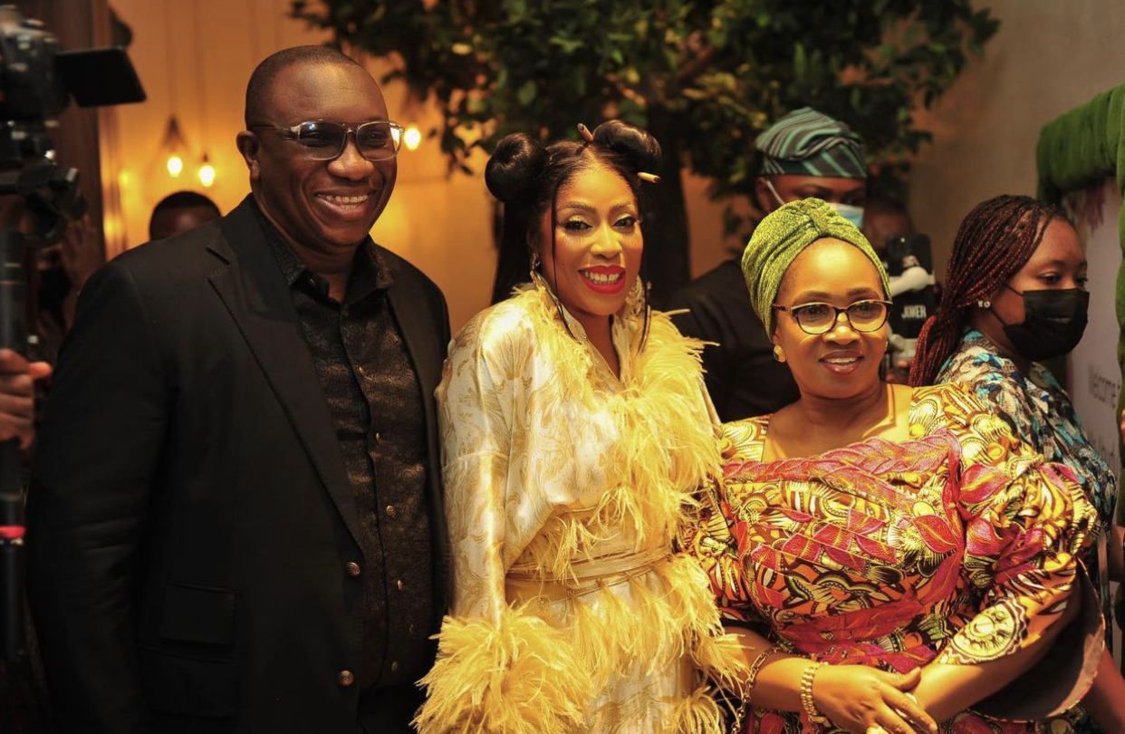 Commissioner for Economic Planning & Budget Lagos State, Mr Sam Egube, Mo Abudu and Commissioner for Tourism, Arts and Culture, Mrs. Uzamat Akinbile-Yussuf, at the dinner