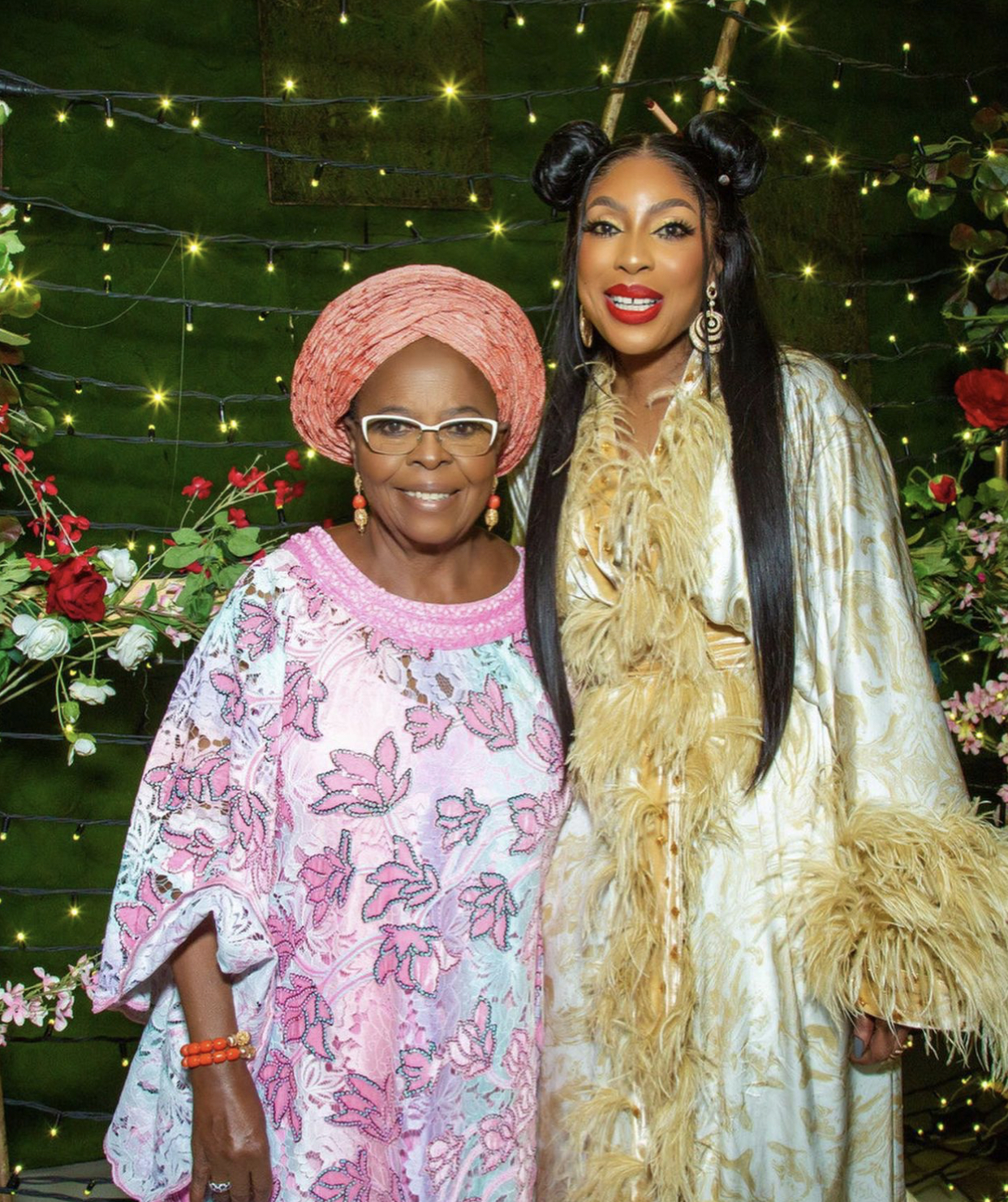 CEO of EbonyLife, Mo Abudu and her mother