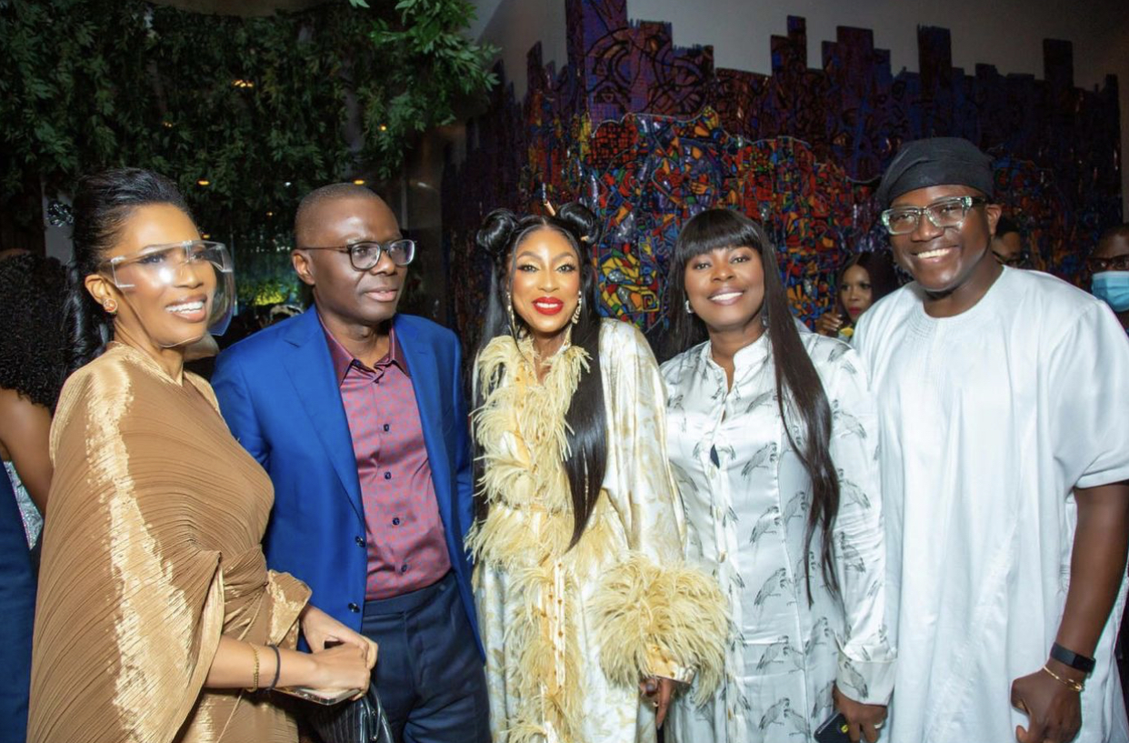 CEO of EbonyLife, Mo Abudu with Governor of Lagos State, Mr Babajide Sanwo-Olu, and guests at the dinner