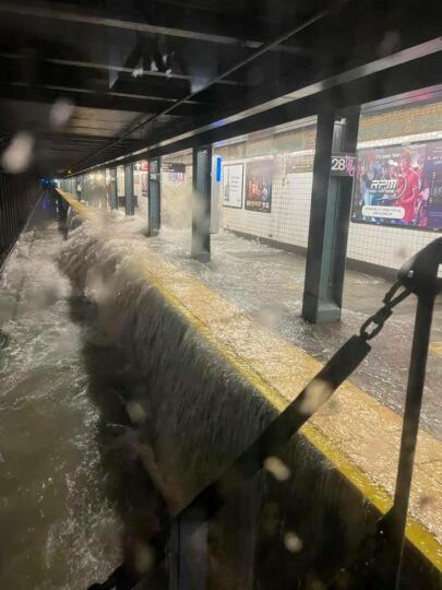 A flooded subway station in New York