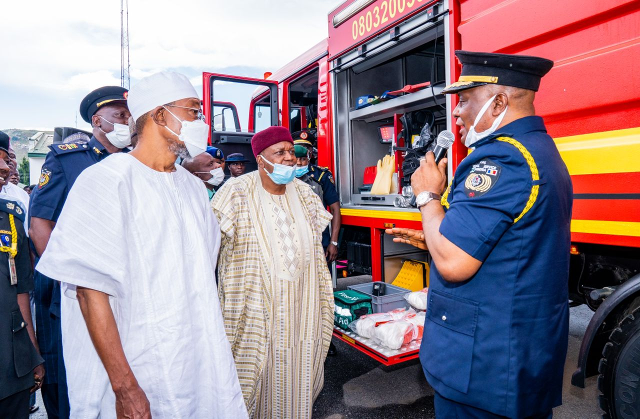 Minister of Interior, Ogbeni Rauf Aregbesola, Governor Arc. Darius Dickson Ishaku of Taraba State and Controller General of the Federal Fire Service, Dr. Ibrahim Liman