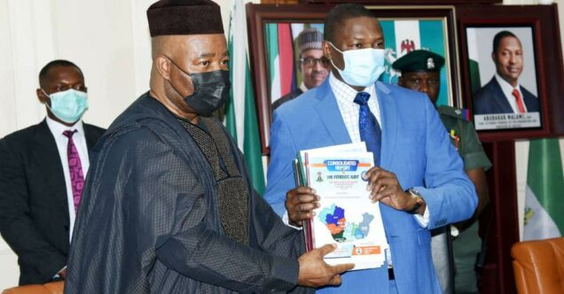 Akpabio presents the NDDC forensic audit to Justice Minister Abubakar Malami
