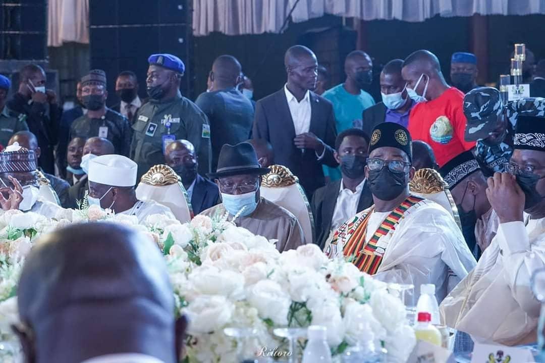 Jonathan with Bala and Aminu Tambuwal at the wedding