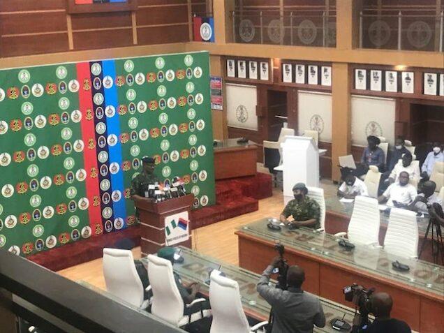 Brigadier-General Bernard Onyeuko speaks with mediamen