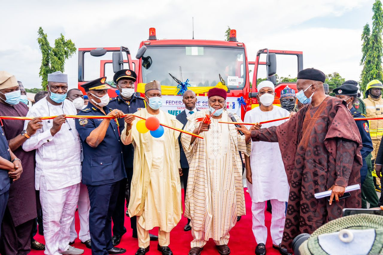 Aregbesola at the commissioning of the state-of-the-art fire-fighting truck deployed by the Federal Government of Nigeria in Taraba State