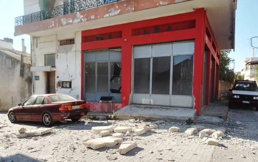 Debris from the earthquake in Crete