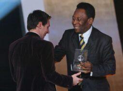 File: Pele and Leo Messi