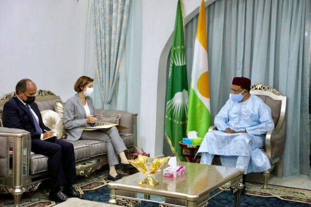 Florence Parly France's armed forces minister meets Nigerien President Bazoum