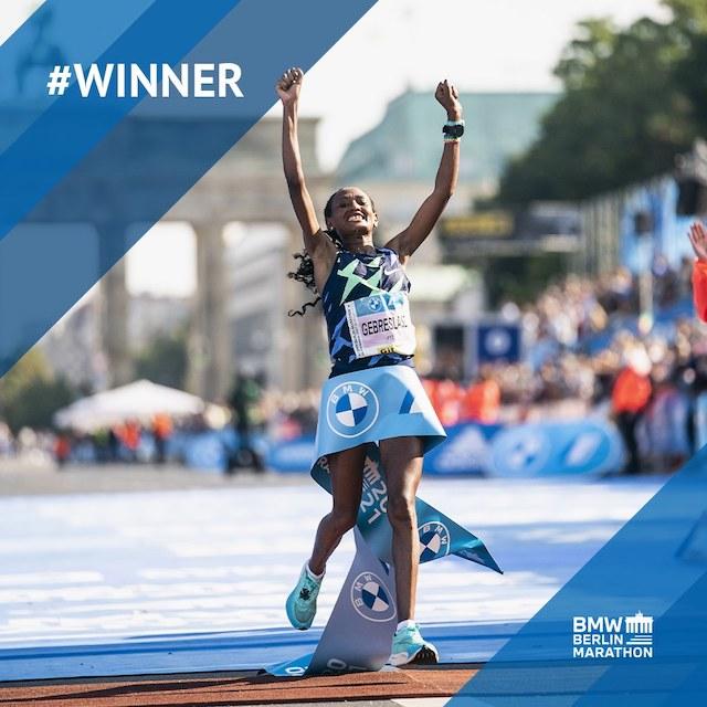 Gotytom Gebreslase wins the women's category in Berlin marathon