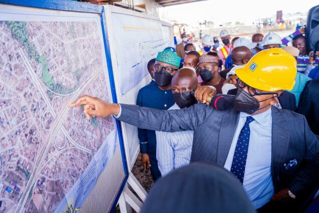 Governor Abiodun checks the interchange map for Lagos-Ibadan expressway