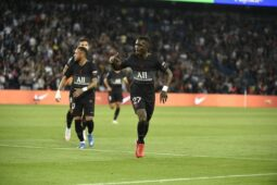 Gueye rejoices after scoring PSG's first goal