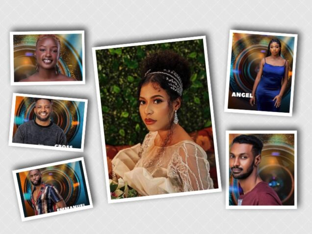Housemates for eviction- Nini, centre escapes. Left, Saskay, Cross and Emma. Right, Angel, Yousef