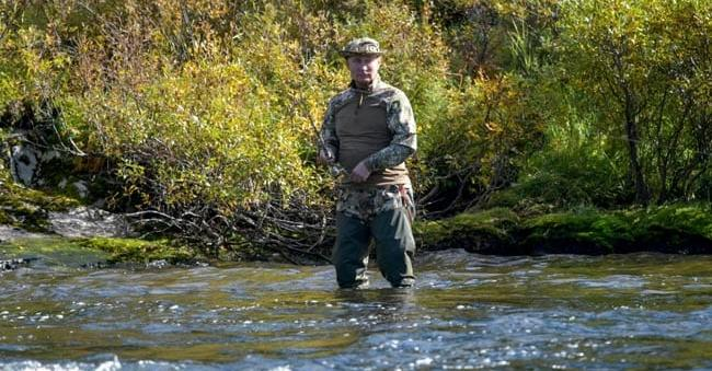 In a Siberian stream looking for a catch