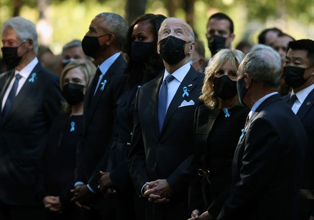 L-R, Clinton, Obama, Michelle Obama, Biden and Jill at the 9:11 Memorial in New York