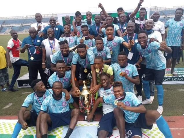 Niger Tornadoes with the NNL Super Eight trophy
