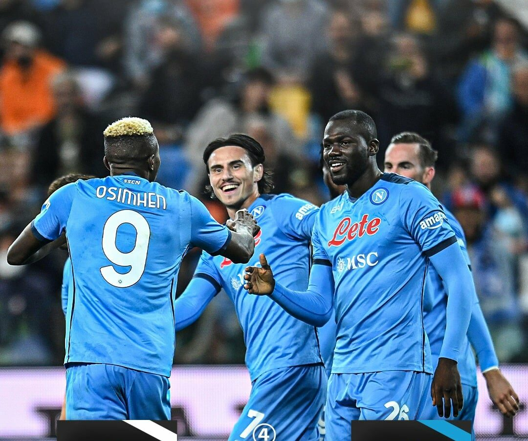 Osimhen and other team mates rejoice over another ruthless display at Udinese