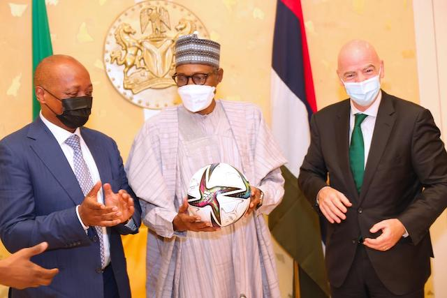 President of Confederation of African Football, Dr. Patrice Motsepe, Buhari and Infantino