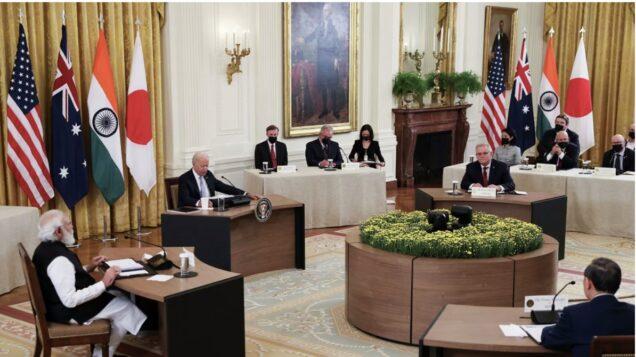Quad leaders at a meeting with Joe Biden in Washington D.C.