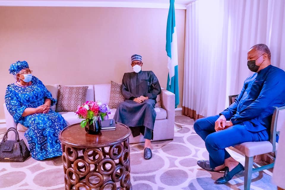 Buhari with Okonjo-Iweala and Onyema Ugochukwu in New York