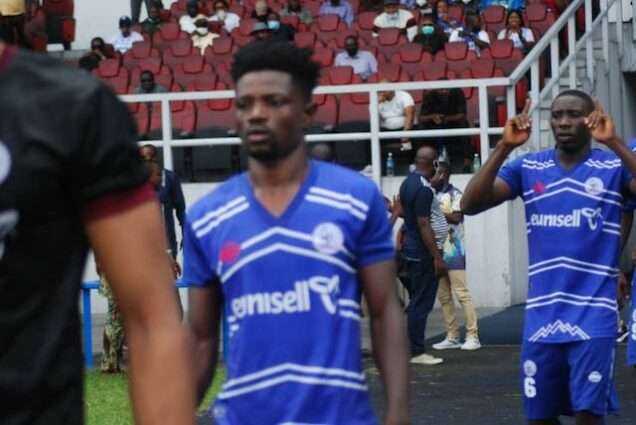 Rivers United players after beating the Tanzanian team on Sunday