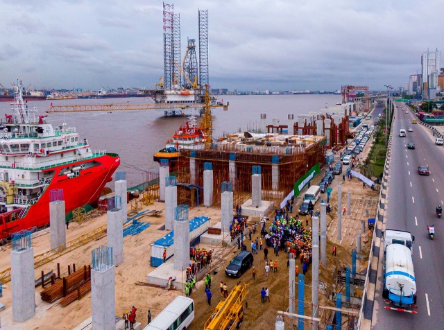 Ongoing construction work at the Lagos Rail Mass Transit Blue Line Project at Marina.