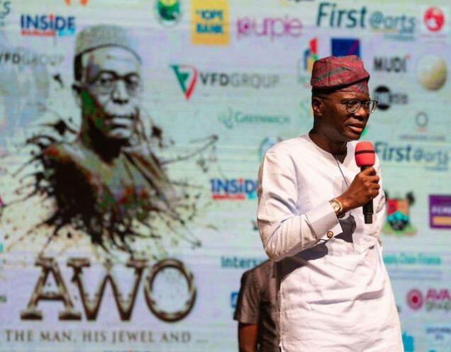 Sanwo-Olu speaks at the drama presentation of Awo, The Man, his Jewel