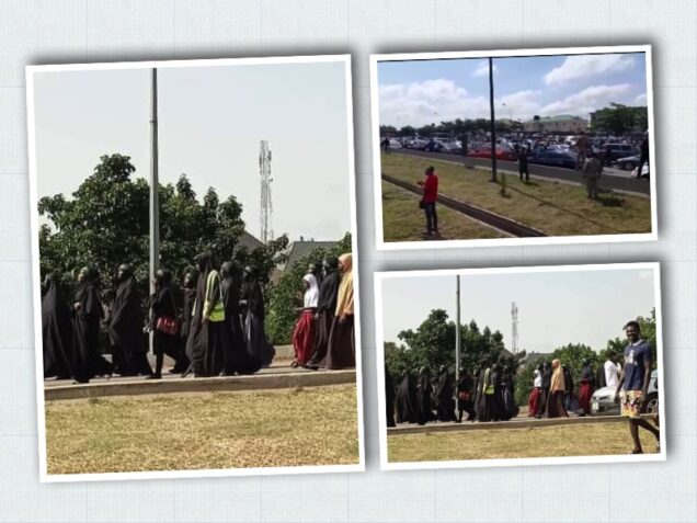 Shiites protest in Abuja and the traffic jam caused, top left