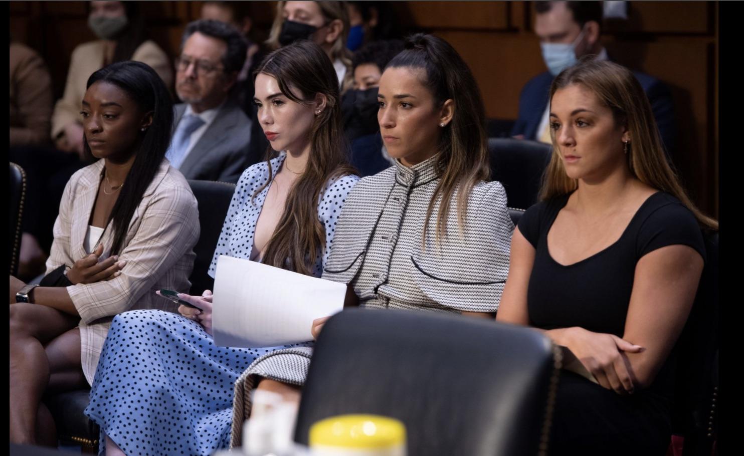 L-R Simone Biles, McKayla Maroney, Aly Raisman and Maggie Nichols at the U.S. Senate on Wednesday