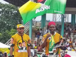 Soludo and his deputy at the flag off his APGA campaign in Awka
