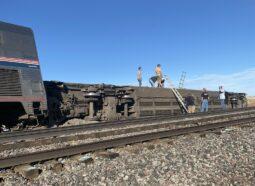 The derailed Amtrak trrain at Montana. Photo Jacob Cordeiro on Twitter