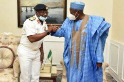 Vice-Admiral Awwal Zubairu Gambo and Governor Abdullahi Ganduje