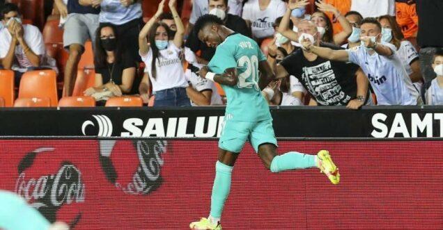 Vinicius Jr after scoring Madrid's equaliser against Valencia