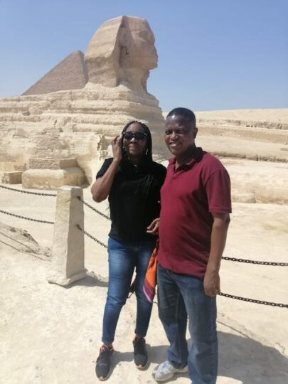 Wale Okediran and his wife Folake  on holiday in Egypt
