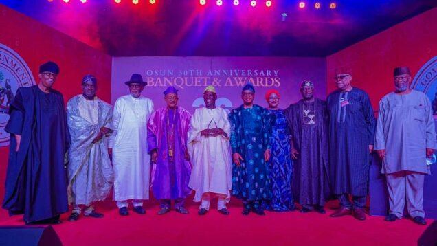 Osun at 30: Akeredolu, Akande, Oyinlola, Akala, Alaafin, Owa-Obokun, Gbenga Daniel, Lasun Yusuf, Sunday Dare, others, grace anniversary awards