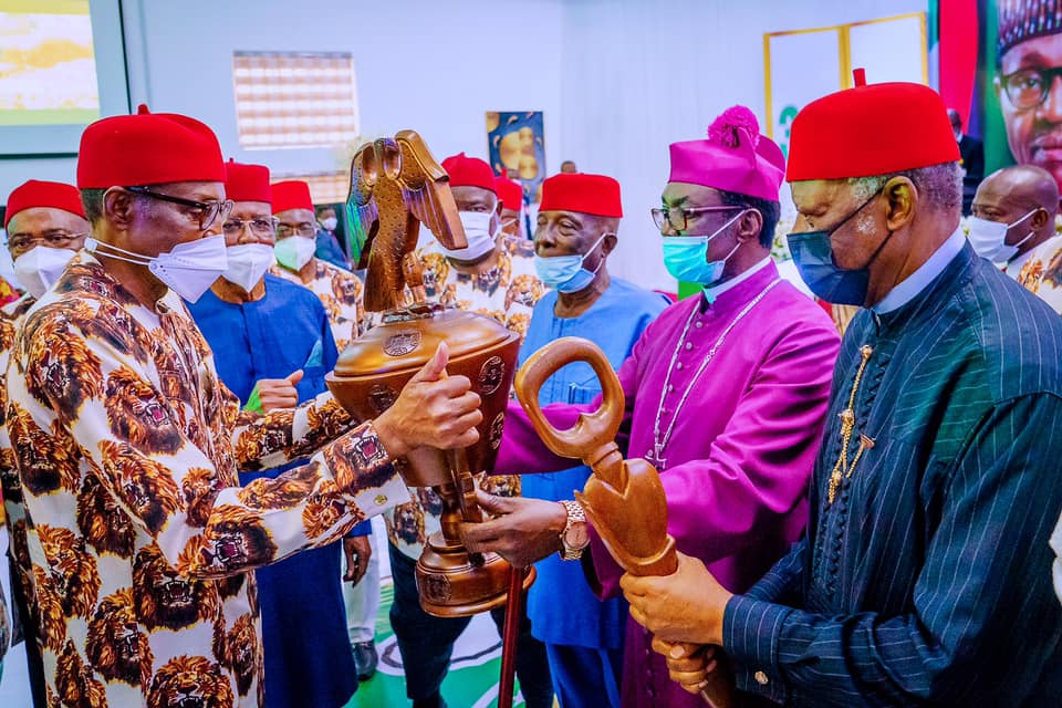 The president presented with a gift in Imo