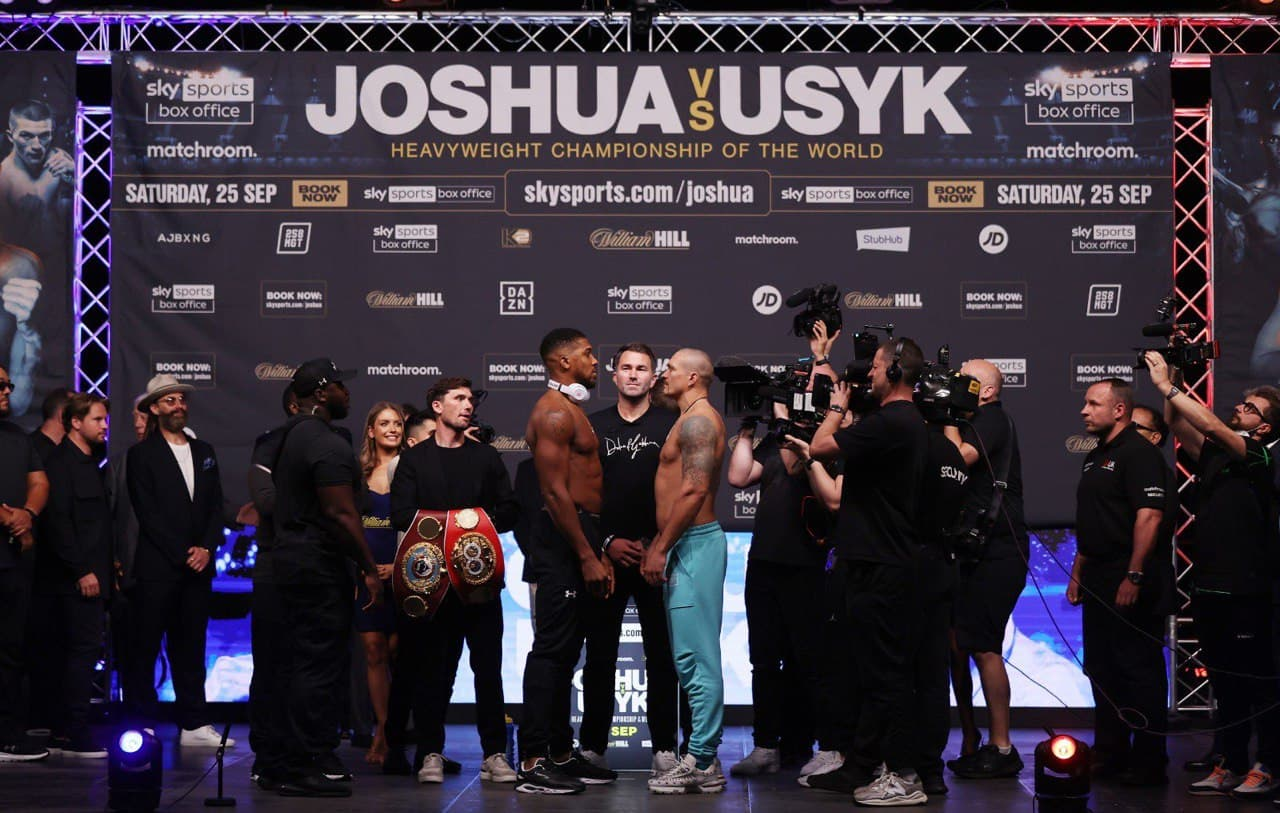 AJ and Usyk during their last face-off ahead of Saturday