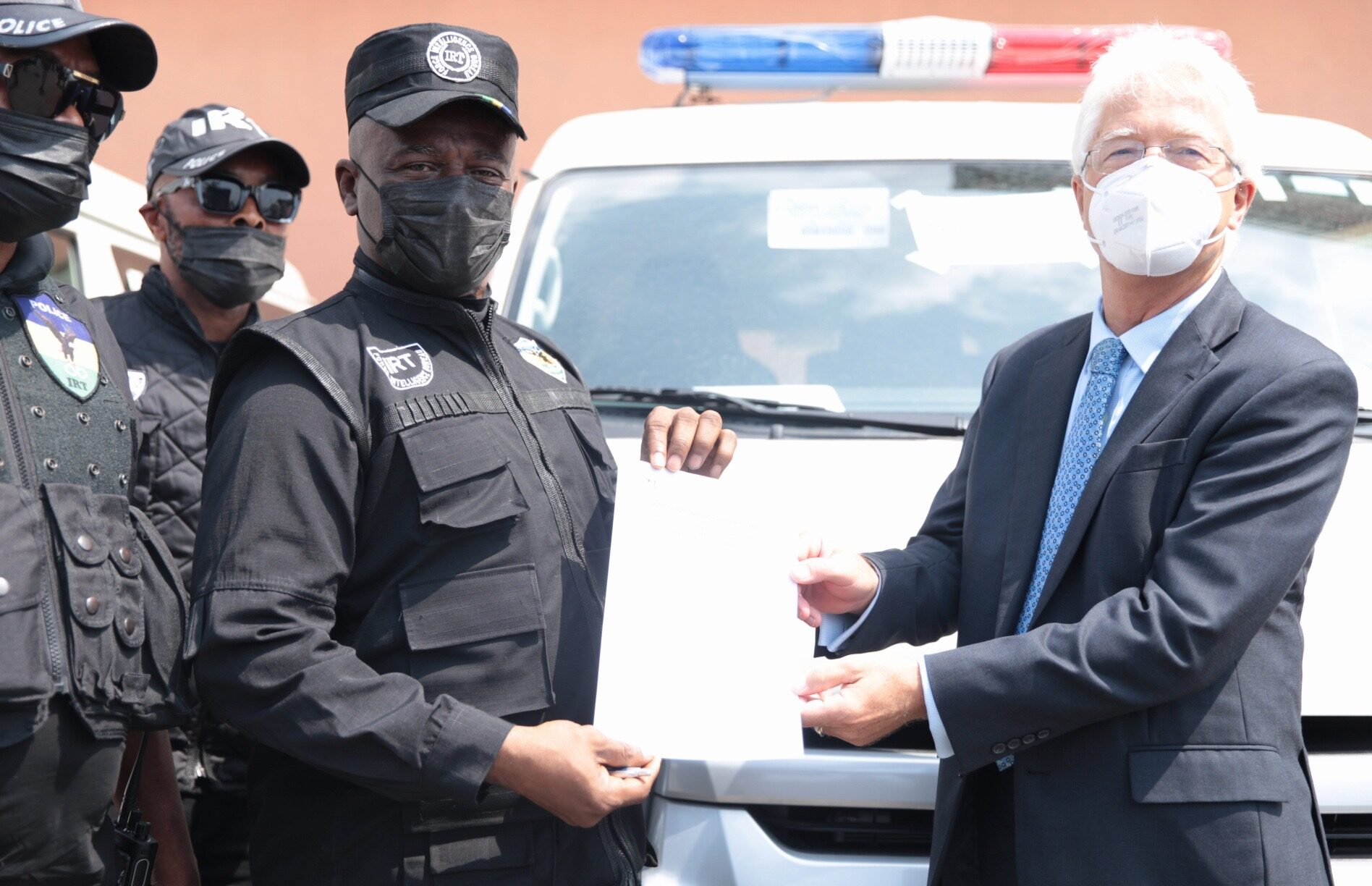 IRT Commander, DCP Tunji Disu while receiving the vehicles from the Consul General of the Federal Republic of Germany in Lagos, Dr. Bernd von Muenchow-Pohl at the event held in Lagos