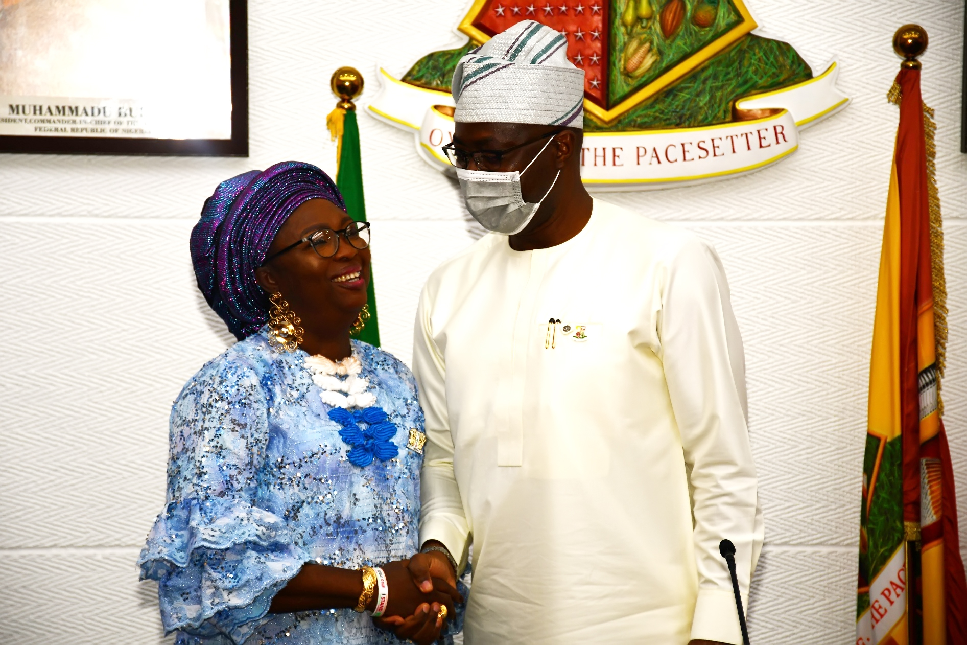 Oyo State Governor, Seyi Makinde (right) with one of the newly appointed commissioners, Alhaja Kafilat Olayiwola during their swearing-in held at Governor's Office, Secretariat, Ibadan.