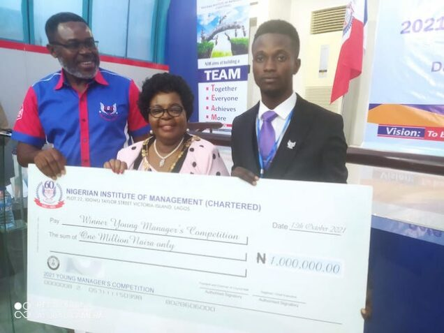 Alexander Adegoke , right, wins NIM's Young Managers contest