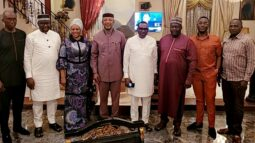 Andy Uba, fourth right, Okeke, to his left, and other party faithful