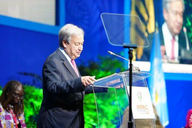 Antonio Guterres speaks at the UNCTAD conference in Barbados
