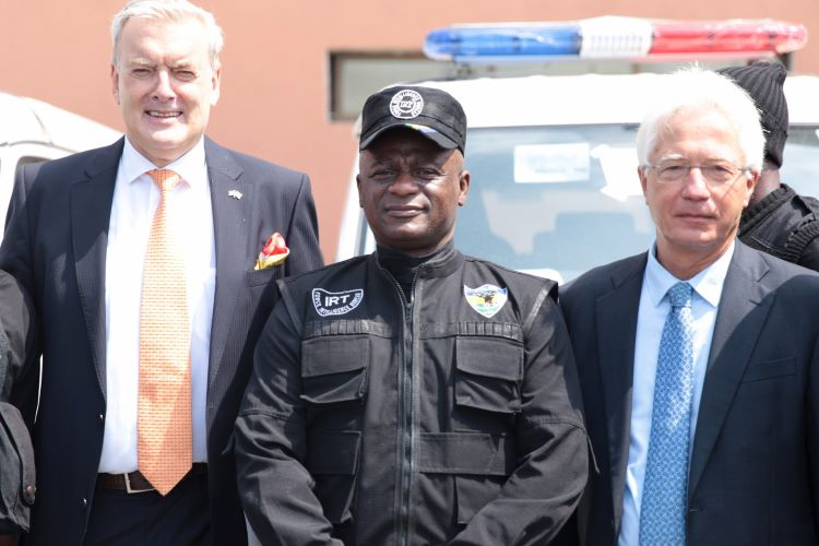 BKA Liason Officer,Mr. Hebert Maassen; Intelligence Response Team Commander, DCP Tunji Disu, and the Consul General of the German Embassy in Lagos, Dr. Bernd von Munchow-Pohl posing for a group photograph after the handover.