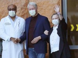 Dr Amin, Bill and Hillary Clinton at the UC Irvine Medical Centre