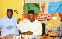 Mr Gbenga Elegbeleye, Chairman of the National Committee for Osun Congress of the APC and (left) Mr Gboyega Famodun, the re-elected as the  chairman of Osun APC: Elegbeyele says the parallel state APC congress conducted by supporters of former governor Aregbesola was a funeral